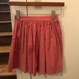 American Apparel red chambray woven skirt